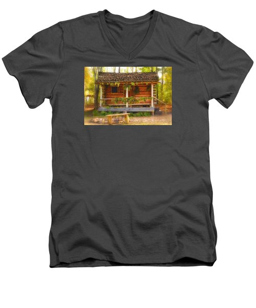 Men's V-Neck T-Shirt featuring the photograph Cabin Christmas by Nadalyn Larsen