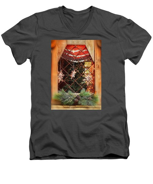 Men's V-Neck T-Shirt featuring the photograph Cabin Christmas Window by Nadalyn Larsen