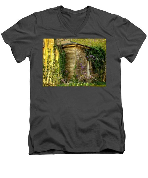 Cabin In The Back Men's V-Neck T-Shirt by Rodney Lee Williams