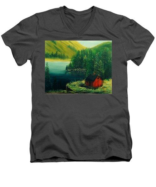 Cabin In The Catskills Men's V-Neck T-Shirt by Catherine Swerediuk