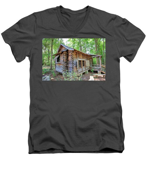 Men's V-Neck T-Shirt featuring the photograph Cabin In The Woods by Gordon Elwell