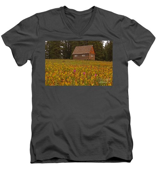 Cabin On Grand Mesa Men's V-Neck T-Shirt