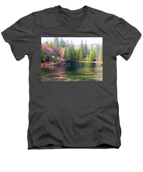 Cabin On The Lake Men's V-Neck T-Shirt
