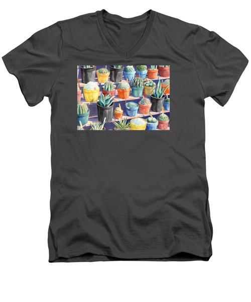 Cacti Chorusline Men's V-Neck T-Shirt by Lynda Hoffman-Snodgrass