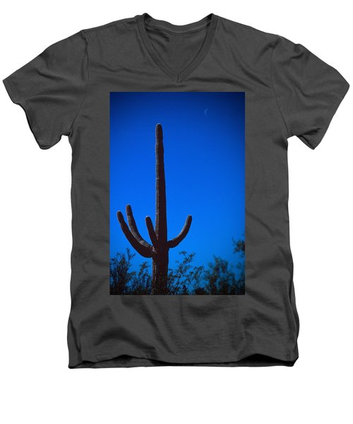 Cactus And Moon Men's V-Neck T-Shirt