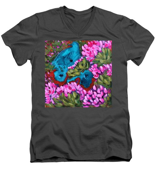 Cactus Flower Blue Bird Dream Men's V-Neck T-Shirt