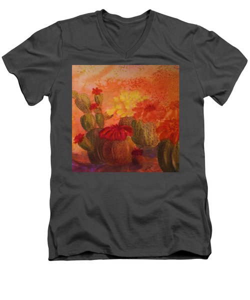 Cactus Garden - Square Format Men's V-Neck T-Shirt by Ellen Levinson