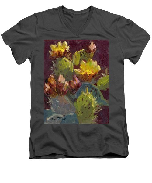 Cactus In Bloom 1 Men's V-Neck T-Shirt by Diane McClary