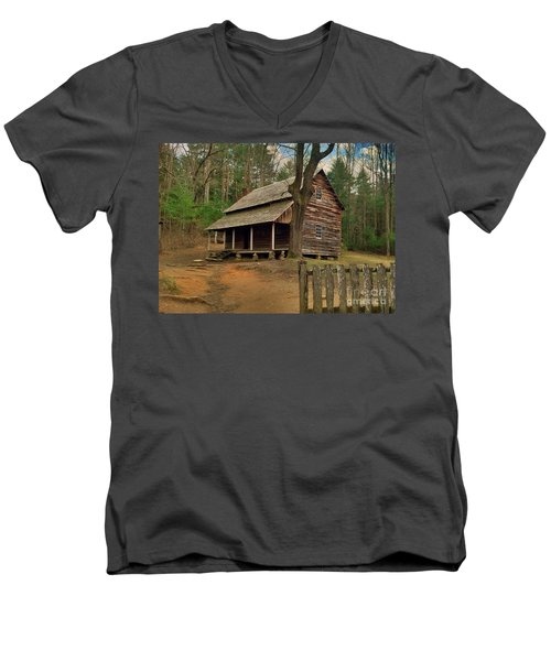 Cades Cove Cabin Men's V-Neck T-Shirt by Janice Spivey
