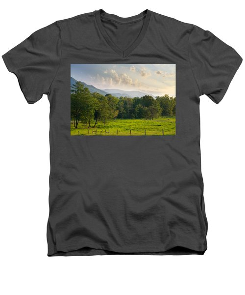 Cades Cove Men's V-Neck T-Shirt by Melinda Fawver