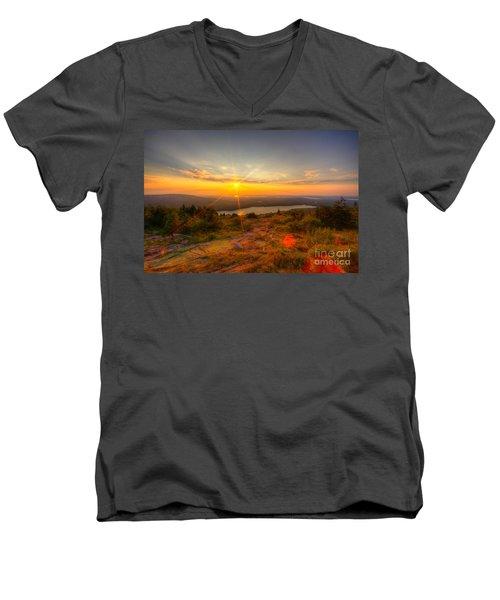 Cadillac Mountain Sunset Acadia National Park Bar Harbor Maine Men's V-Neck T-Shirt