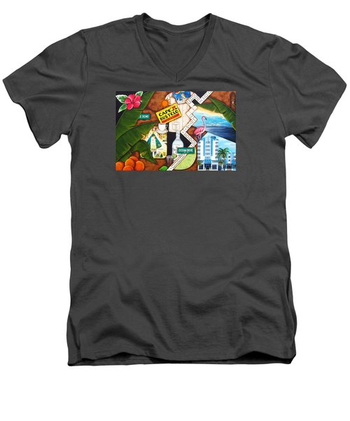 Men's V-Neck T-Shirt featuring the painting Cafe Miami by Joseph Sonday