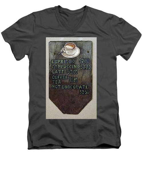 Cafe Sign On Slate Men's V-Neck T-Shirt by Joyce  Wasser