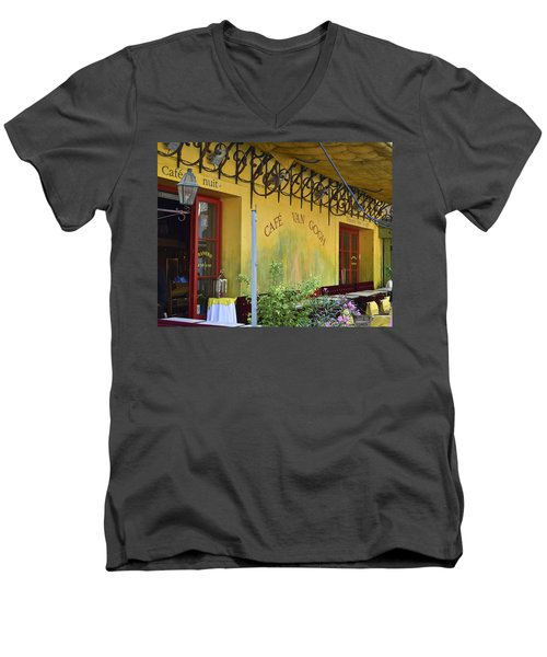 Men's V-Neck T-Shirt featuring the photograph Cafe Van Gogh by Allen Sheffield