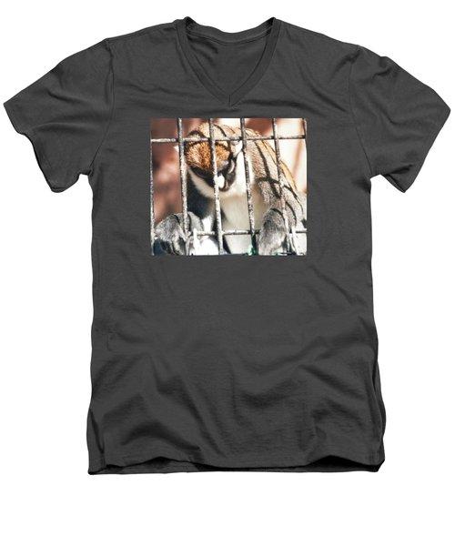 Caged But Strong Men's V-Neck T-Shirt by Belinda Lee