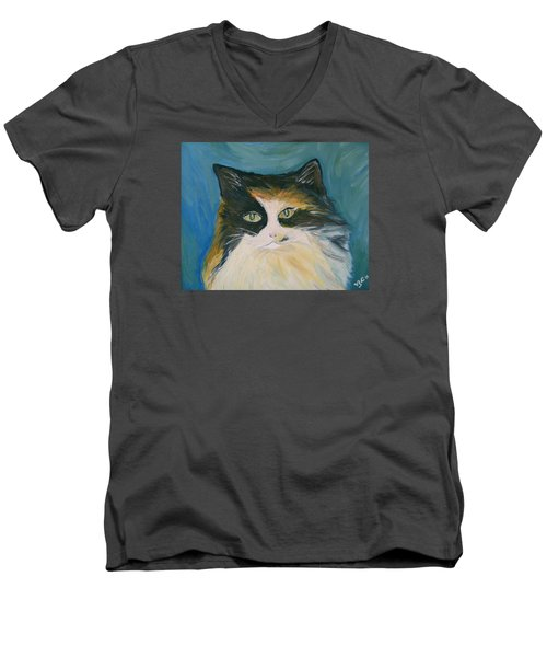 Men's V-Neck T-Shirt featuring the painting Cali by Victoria Lakes