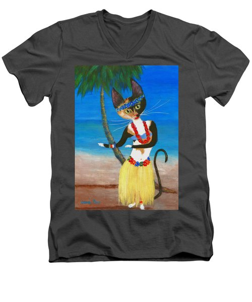 Calico Hula Queen Men's V-Neck T-Shirt