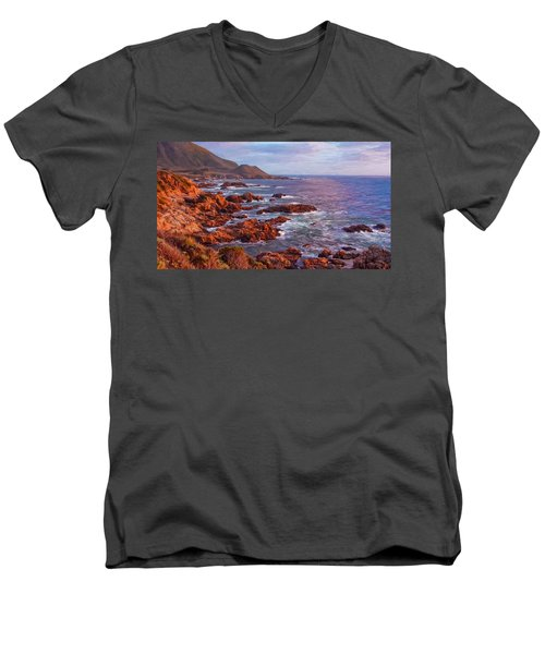 California Coast Men's V-Neck T-Shirt by Michael Pickett