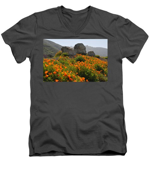 Men's V-Neck T-Shirt featuring the photograph California Poppies by Lynn Bauer