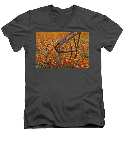 California Poppy Field Men's V-Neck T-Shirt