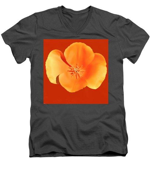 California Poppy Painting Men's V-Neck T-Shirt by Bob and Nadine Johnston