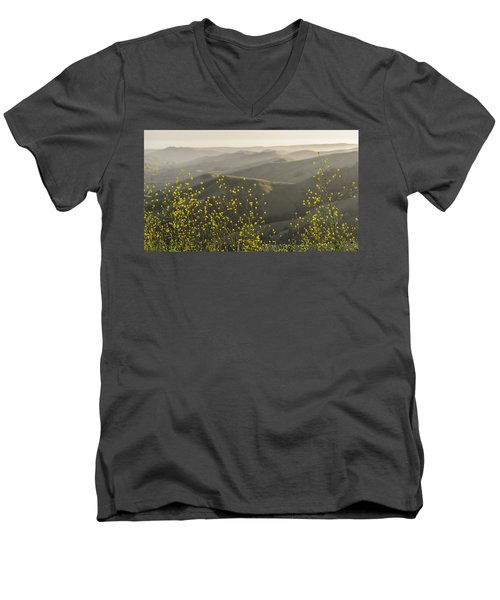 Men's V-Neck T-Shirt featuring the photograph California Wildflowers by Steven Sparks