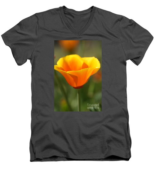 Men's V-Neck T-Shirt featuring the photograph Californian Poppy by Joy Watson