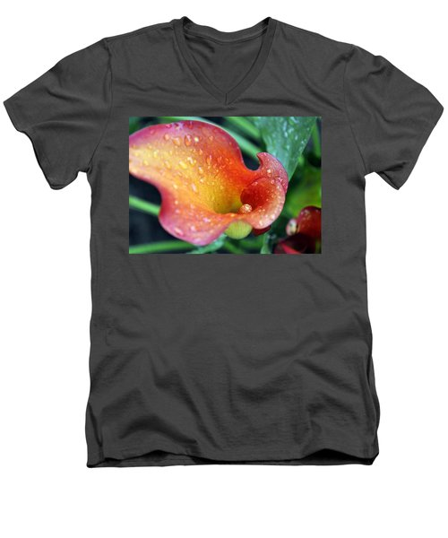 Calla Lily Men's V-Neck T-Shirt by Jim Brage