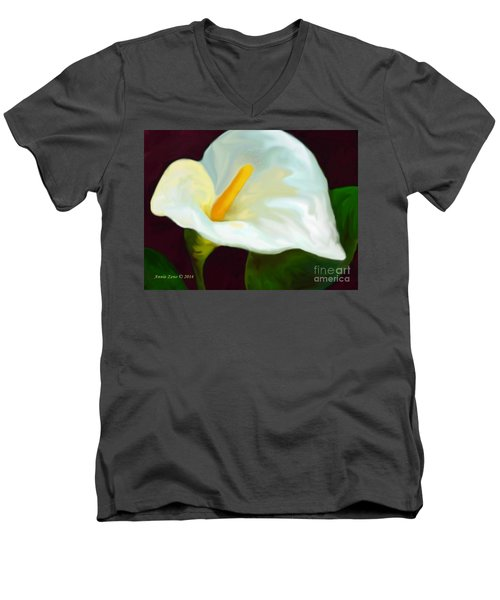 Men's V-Neck T-Shirt featuring the painting Calla Lily Painting by Annie Zeno