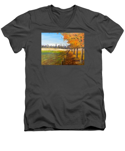 Men's V-Neck T-Shirt featuring the painting Camden Farm by Pamela  Meredith