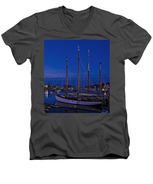 Camden Harbor Maine At 4am Men's V-Neck T-Shirt