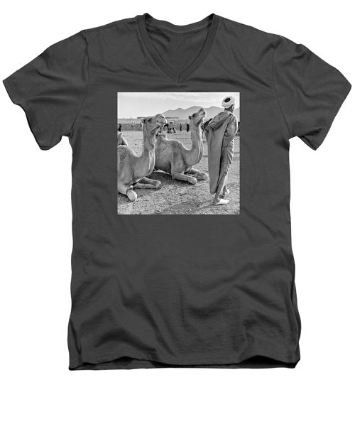 Men's V-Neck T-Shirt featuring the photograph Camel Market, Morocco, 1972 - Travel Photography By David Perry Lawrence by David Perry Lawrence