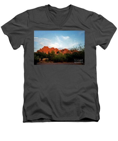 Camelback Mountain And Moon Men's V-Neck T-Shirt by Connie Fox