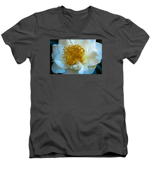 Men's V-Neck T-Shirt featuring the photograph Camellia by Julie Andel