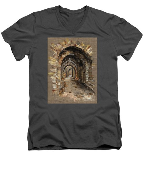 Camelot -  The Way To Ancient Times - Elena Yakubovich Men's V-Neck T-Shirt by Elena Yakubovich