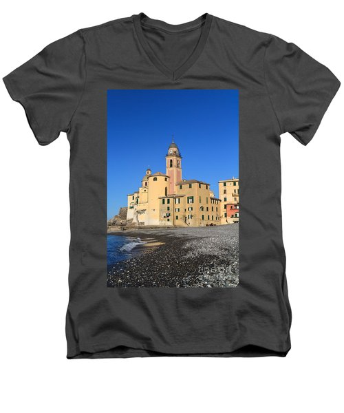 Men's V-Neck T-Shirt featuring the photograph Camogli Seaside And Church by Antonio Scarpi