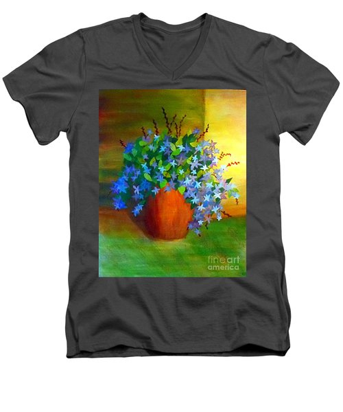 Campanula In Terra Cotta Men's V-Neck T-Shirt by Desiree Paquette