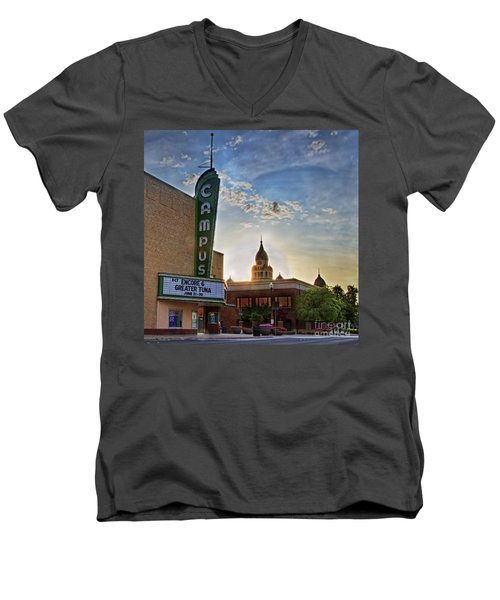 Campus At Sunrise Men's V-Neck T-Shirt by Gary Holmes