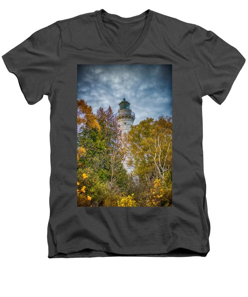 Cana Island Lighthouse II By Paul Freidlund Men's V-Neck T-Shirt by Paul Freidlund