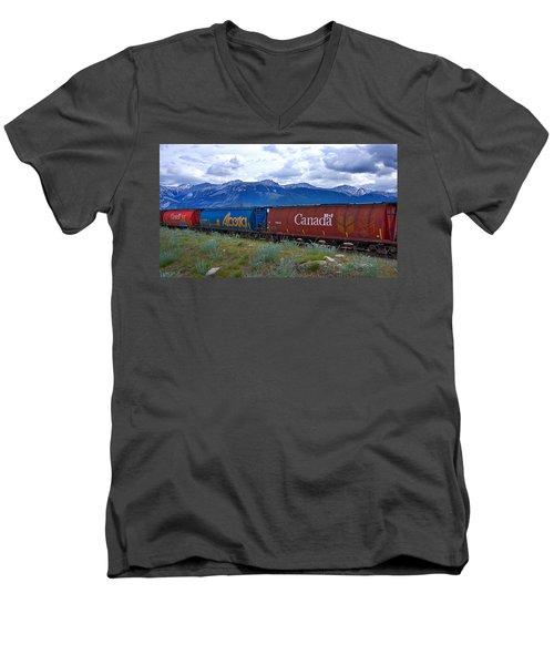 Canadian Freight Train In Jasper #2 Men's V-Neck T-Shirt