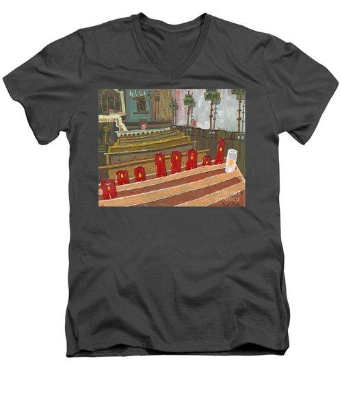 Candles In Cinque Terra Men's V-Neck T-Shirt