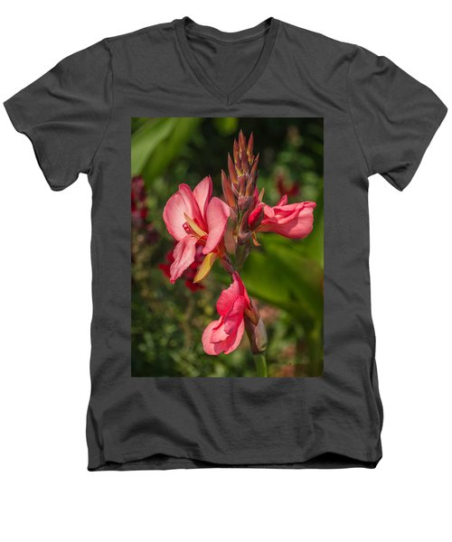 Canna Lily Men's V-Neck T-Shirt by Jane Luxton