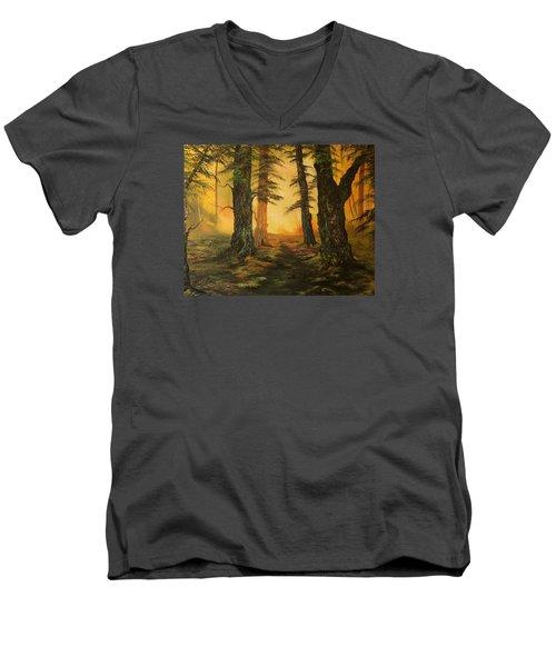 Cannock Chase Forest In Sunlight Men's V-Neck T-Shirt by Jean Walker