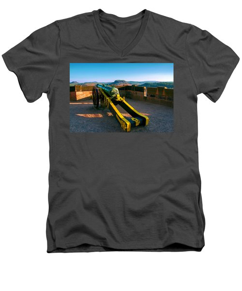 Cannon At The Fortress Koenigstein Men's V-Neck T-Shirt