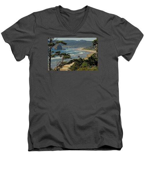 Men's V-Neck T-Shirt featuring the photograph Cannon Beach Seascape by Nick  Boren