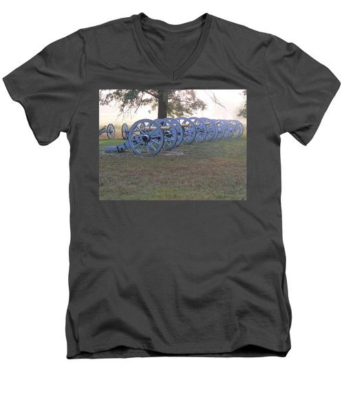 Men's V-Neck T-Shirt featuring the photograph Cannon's In Fog by Michael Porchik