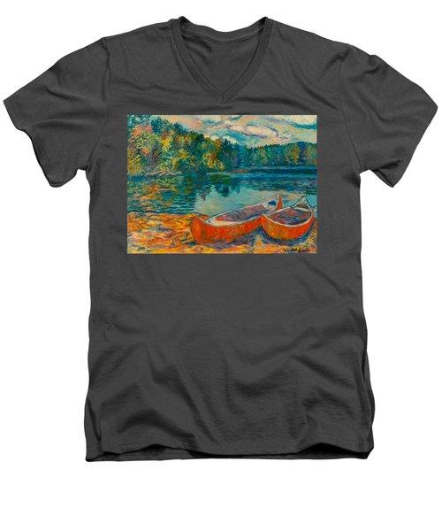 Canoes At Mountain Lake Men's V-Neck T-Shirt