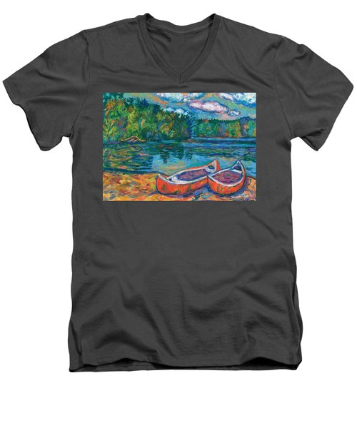 Canoes At Mountain Lake Sketch Men's V-Neck T-Shirt