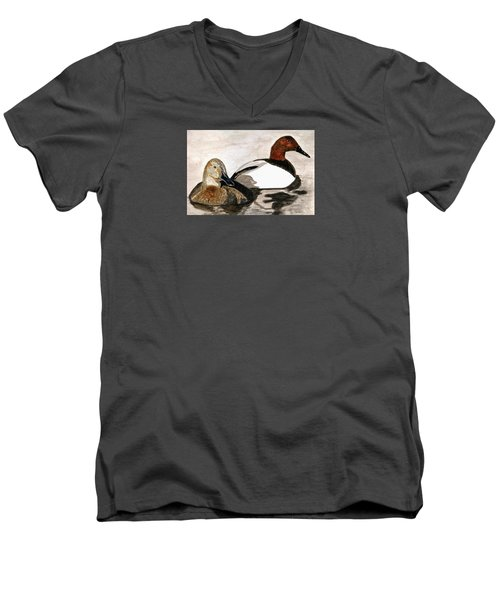 Canvasback Couple Men's V-Neck T-Shirt by Angela Davies