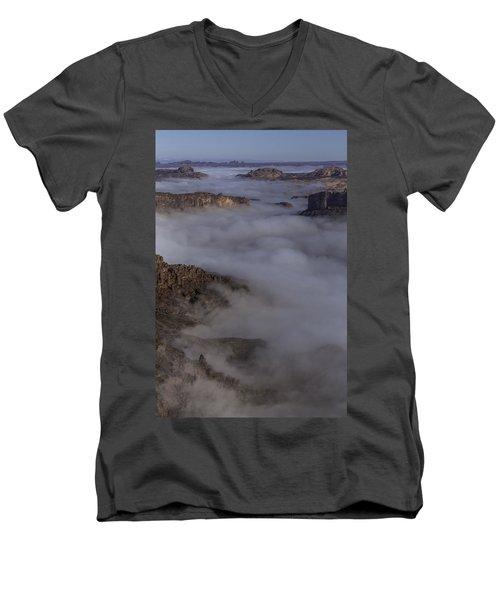 Canyon Rims Float In Fog Men's V-Neck T-Shirt
